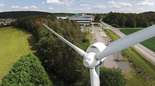 FGB wind turbine in front of the company